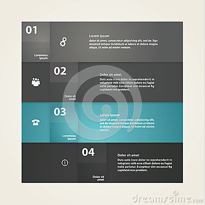 Vector - solid box template, pointer. Four colorfully stripes wi