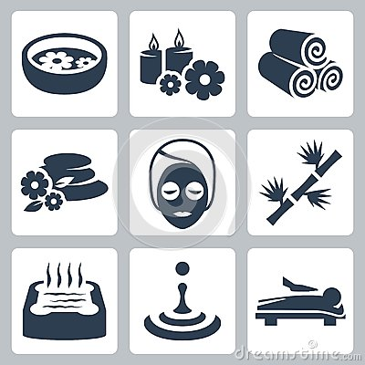 Free Vector Spa Icons Set Royalty Free Stock Photography - 34988847