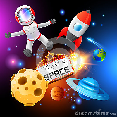 Free Vector Space Elements Royalty Free Stock Image - 26272596