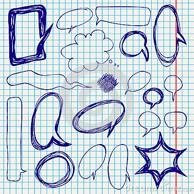 Vector Speech Bubbles Doodles on Notepaper