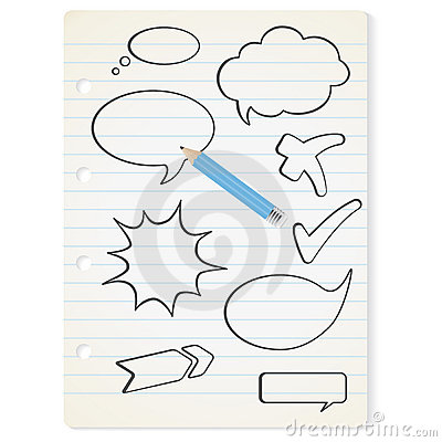 Vector speech bubbles on the paper