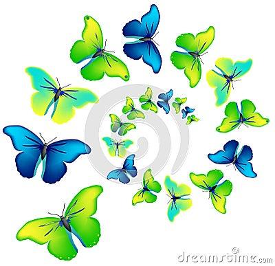Vector spiral of the butterflies