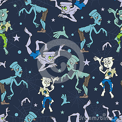 Free Vector Spooky Zombies Halloween Seamless Pattern Stock Images - 58990604