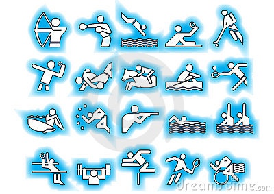 Vector sports symbols blue