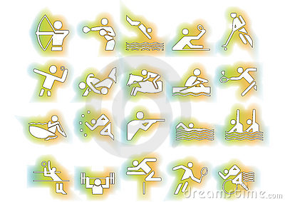 Vector sports symbols colorful