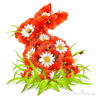 Vector spring flowers in the shape of Easter Rabbi