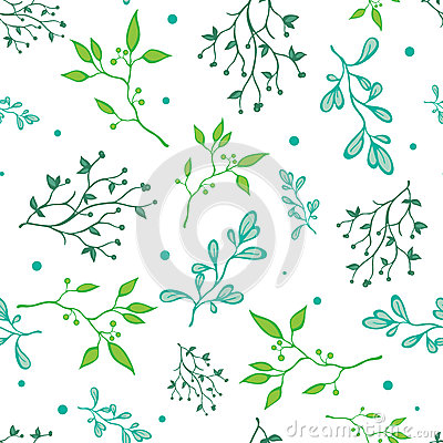 Free Vector Spring Green Braches On White Seamless Royalty Free Stock Image - 56792386