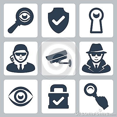 Vector spy and security icons set