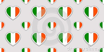 Vector St. Patrick`s day seamless pattern. Background with Ireland national flags stickers. Traditional colors. Irish cultural an Stock Photo