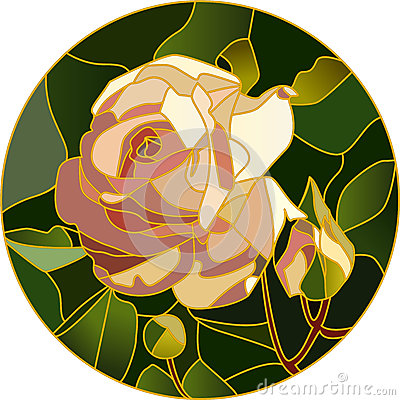 Free Vector Stained Glass Of Pink Rose Stock Photo - 67543660