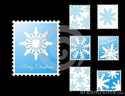 Vector Stamps with snowflakes