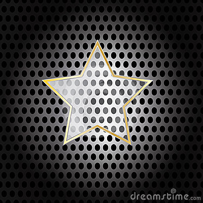 Vector Star Glass with metal frame on metal background