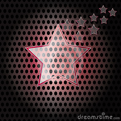 Vector Star Glass with red frame on metal background