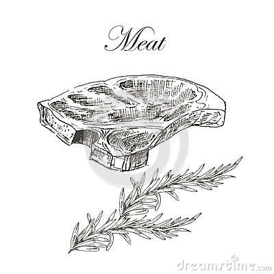 Free Vector Steak Meat Hand Drawing With Pepper And Royalty Free Stock Images - 63348429