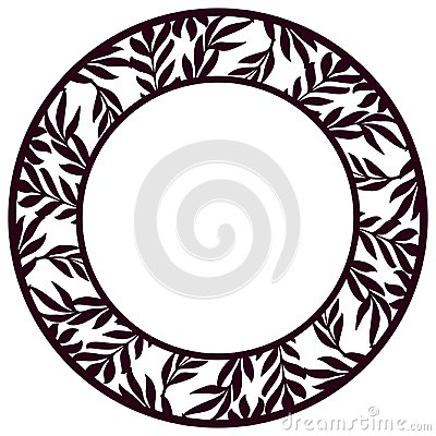 Free Vector Stencil Lacy Round Frame With Carved Floral Openwork Patt Stock Photo - 114757910