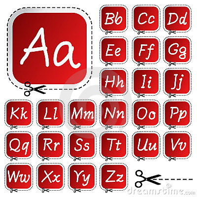 vector stickers with hand drawing alphabet