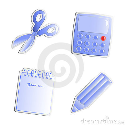 Vector stickers of office objects