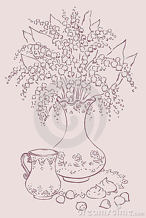 Vector still life with bouquet and a cup of coffee