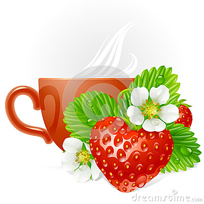 Vector strawberry in the shape of heart and cup