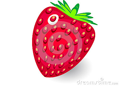 Vector  strawberry on white background