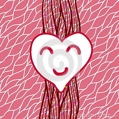 Vector striped background with heart