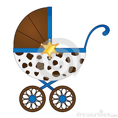 Free Vector Stroller In Cowboy Style For Baby Boy. Stock Photography - 118416562