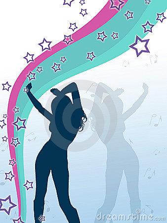 Vector style girl with stars and music notes