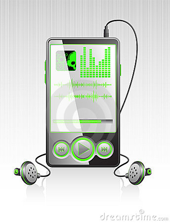 Vector stylish player with modern green interface