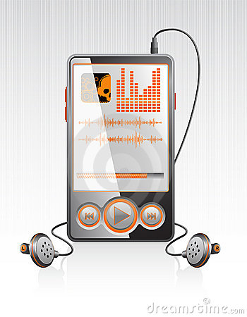 Vector stylish player with modern orange interface