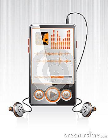 Vector stylish player with modern orange interface