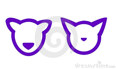 Vector stylized cat and dog