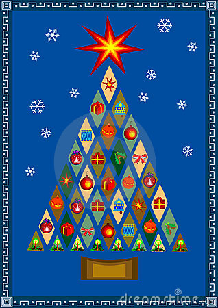 Vector stylized Christmas tree with presents