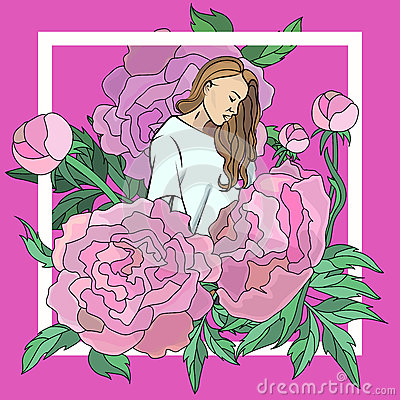 Vector stylized illustration with the image of a young pretty girl depicted in the colors of peonies. Fashion Vector Illustration