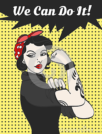 Free Vector Subculture Punk Gothic Woman With Signature We Can Do It Stock Photo - 70678210