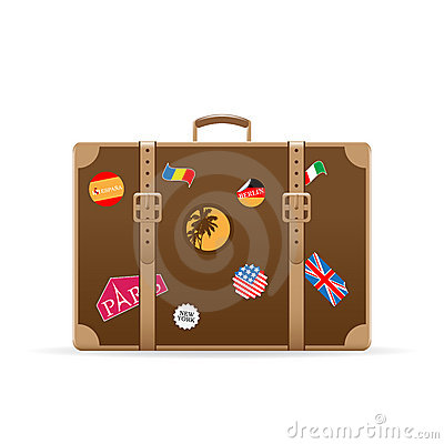Vector suitcase with travel stickers