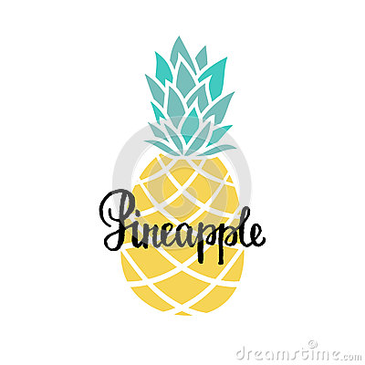 Free Vector Summer Background With Hand Drawn Pineapple And Hand Written Text. Bright Poster With Exotic Fruit, Lettering Stock Photo - 74305810