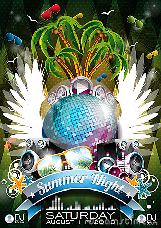 Vector Summer Beach Party Flyer Design with speake