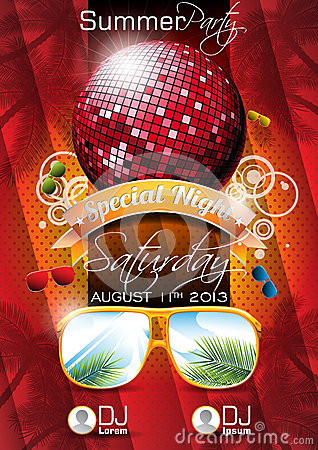 Free Vector Summer Beach Party Flyer Design With Disco Ball Royalty Free Stock Images - 30379799