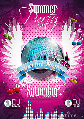 Free Vector Summer Beach Party Flyer Design With Disco Ball Stock Photo - 30379880