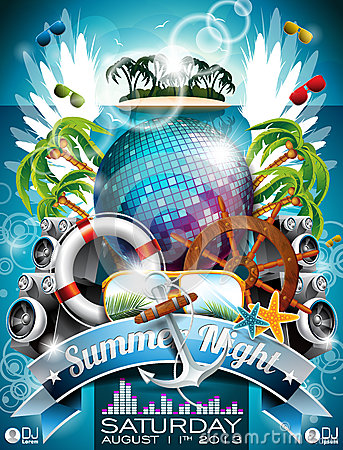 Free Vector Summer Beach Party Flyer Design With Disco Ball Royalty Free Stock Images - 31585079