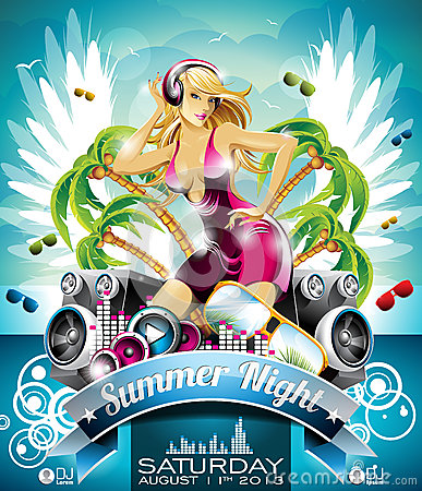 Free Vector Summer Beach Party Flyer Design With Sexy Girl And Speakers On Cloud Background. Royalty Free Stock Photos - 31291768