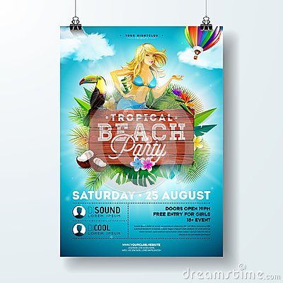 Free Vector Summer Beach Party Flyer Design With Sexy Young Girl And Typographic Elements On Wood Texture Background. Summer Stock Photo - 118128120