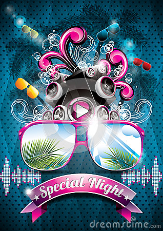 Free Vector Summer Beach Party Flyer Design With Speakers Stock Photos - 30598653