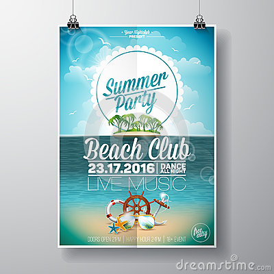 Free Vector Summer Beach Party Flyer Design With Typographic Elements On Ocean Landscape Background. Royalty Free Stock Image - 69294446