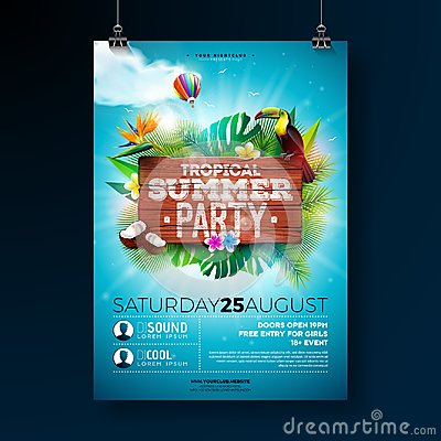 Free Vector Summer Beach Party Flyer Design With Typographic Elements On Wood Texture Background. Summer Nature Floral Royalty Free Stock Photography - 118224687