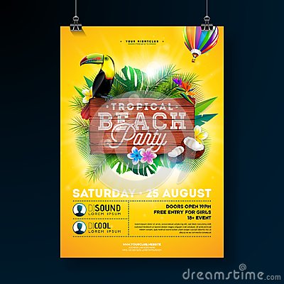 Free Vector Summer Beach Party Flyer Design With Typographic Elements On Wood Texture Background. Tropical Plants, Flower Royalty Free Stock Image - 119183846