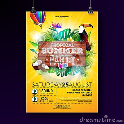 Free Vector Summer Beach Party Flyer Design With Typographic Elements On Wood Texture Background. Tropical Plants, Flower Stock Photography - 119231842