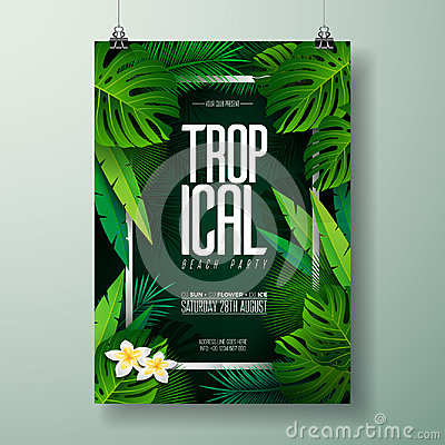 Free Vector Summer Beach Party Flyer Illustration With Typographic Design On Nature Background With Palm Leaves. Royalty Free Stock Photography - 96446097