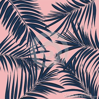Free Vector Summer Exotic Floral Tropical Palm Leaf, Banana In Blue Navy Pink Style. Modern 2017 Background. Plant Flower Nature Wallpa Stock Photo - 85383710
