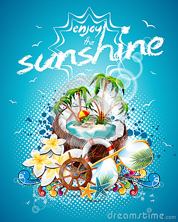 Vector Summer Holiday Flyer Design with coconut and Paradise Island.